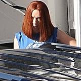 Scarlett Johansson hit the set of Captain America: The Winter Soldier in LA on Monday.