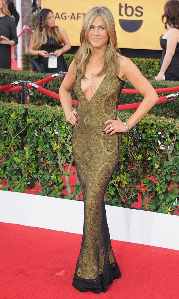 For the 2015 SAG Awards, Jennifer wore a vintage Galliano gown. The gold dress featured a plunging neckline, and she styled the look with bodychains.