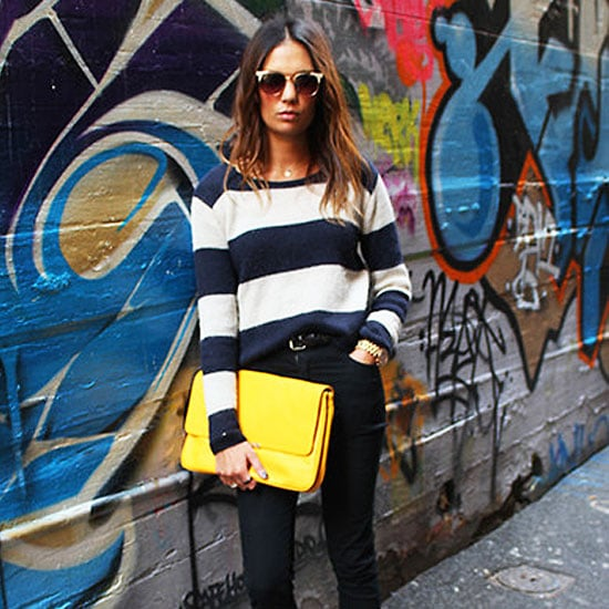 15 of  the Best Street Style Snaps to Inspire your Look: Neon Bags, Stripes, Lace, Leopard Print and Denim on Denim!