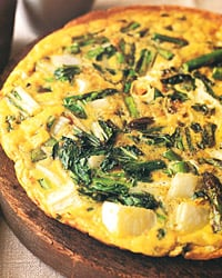Fast & Easy Dinner: Asparagus and Bok Choy Frittata
