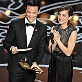 Joseph Gordon-Levitt and Emma Watson laughed.