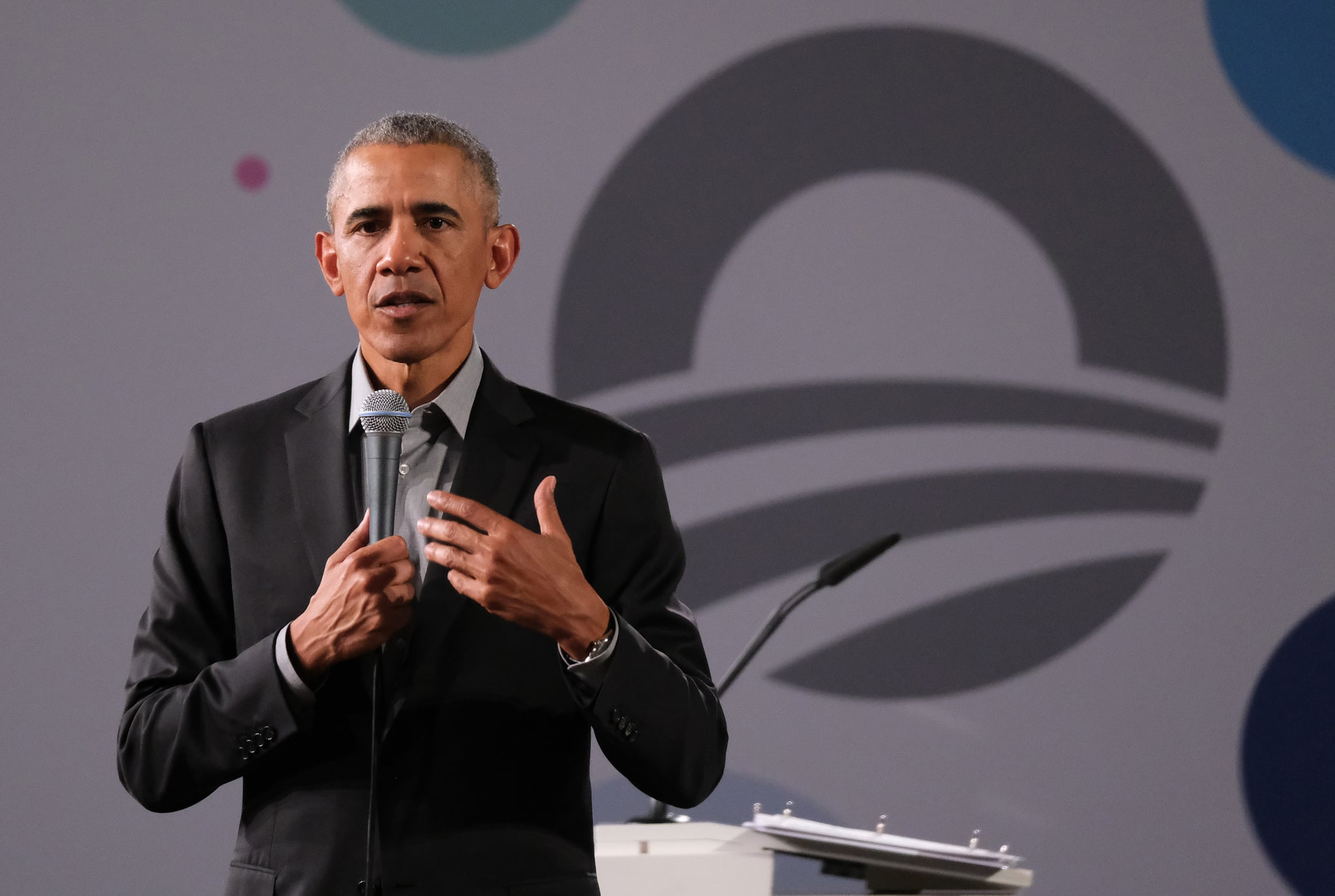 BERLIN, GERMANY - APRIL 06: Former U.S. President Barack Obama speaks to young leaders from across Europe in a Town Hall-styled session on April 06, 2019 in Berlin, Germany. Obama spoke to several hundred young people from European government, civil society and the private sector about the nitty gritty of achieving positive change in government and society.  (Photo by Sean Gallup/Getty Images)