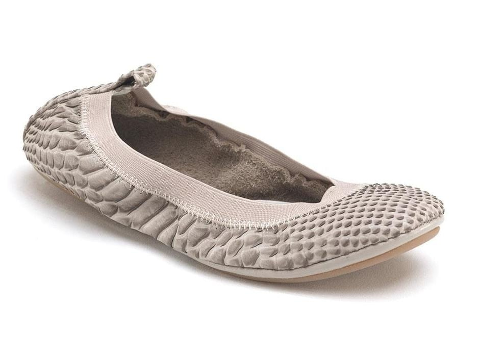 We love the exotic feel of these nude pink-meets-croc skin flats — a dynamic spin on the traditional ballet shoe. Yosi Samra Elastic Top Line Ballet Flats ($70)