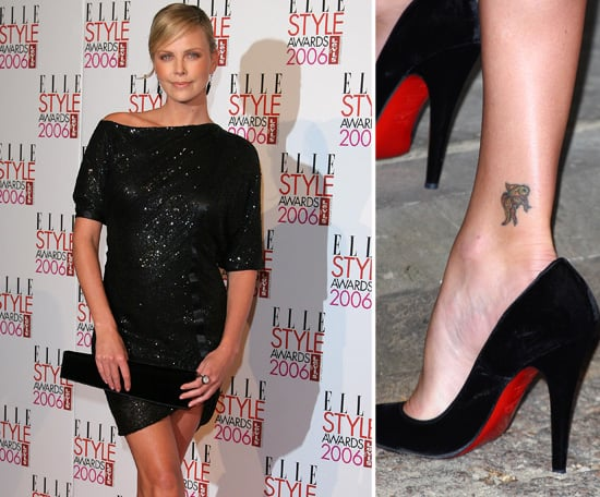 Charlize Theron and her mum got matching koi fish tattoos in 1991 —  the ink on her back right ankle is the Japanese symbol of love.