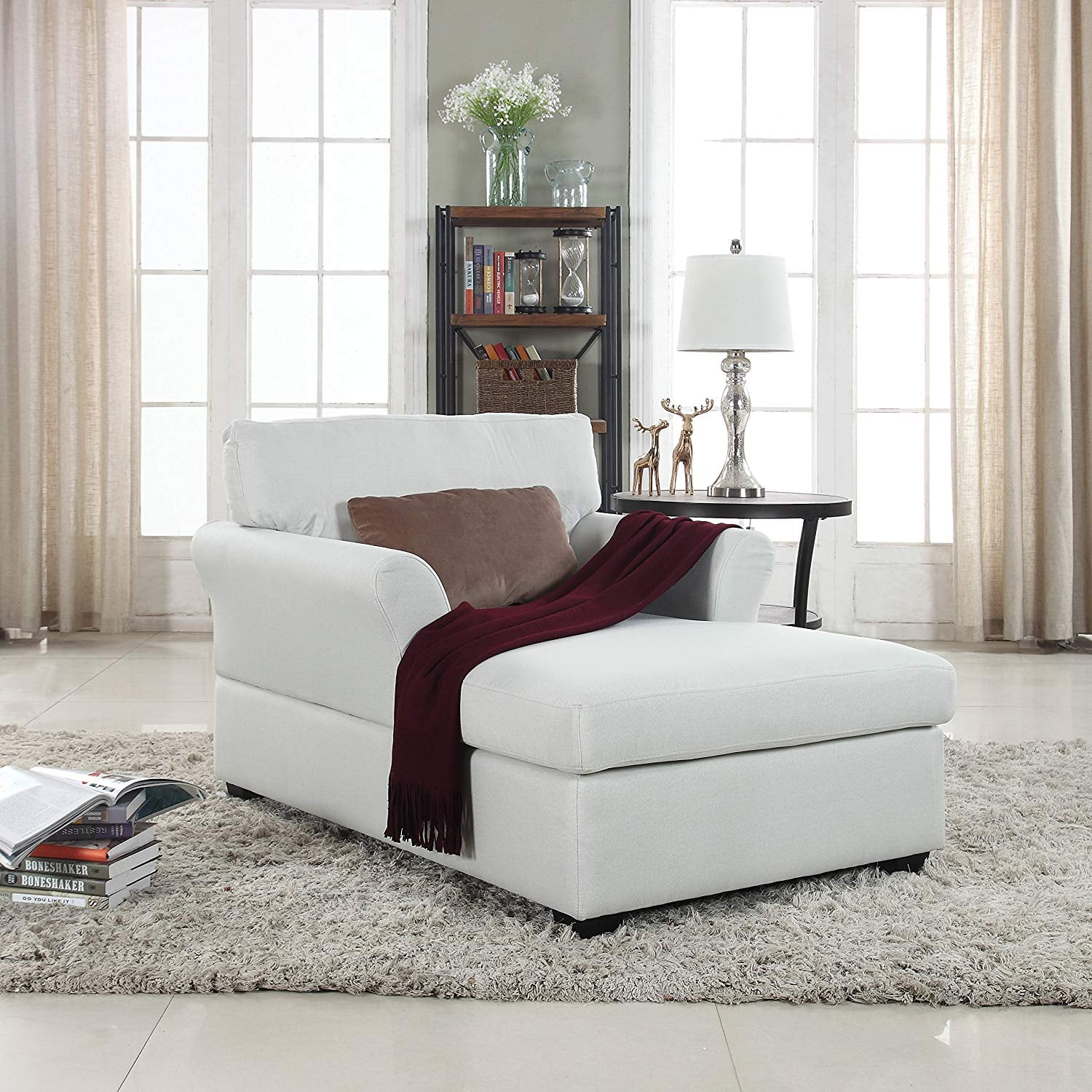 Large Classic Linen Fabric Living Room Chaise Lounge | 22 ...