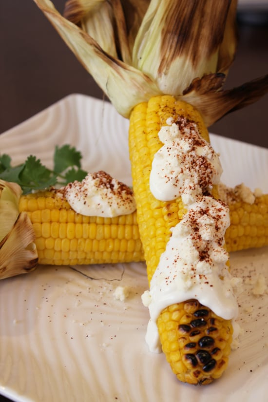 Mexican Grilled Corn Recipe With Crema Cheese And Chile Popsugar Food