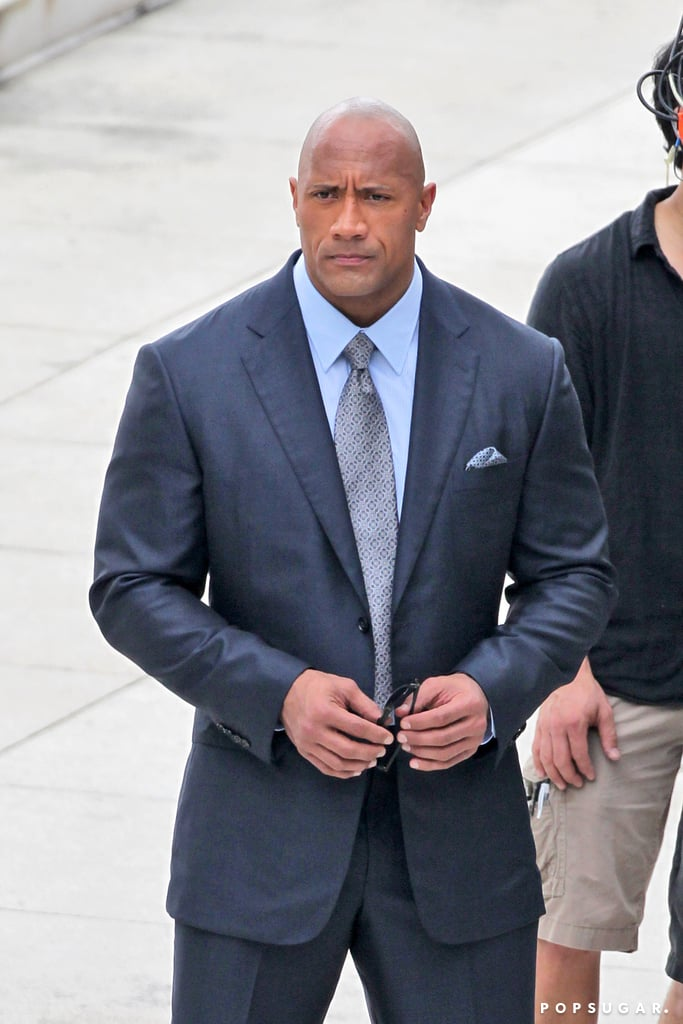 Dwayne Johnson didn't require shoulder pads while filming scenes for the HBO pilot Ballers in Miami on Thursday.