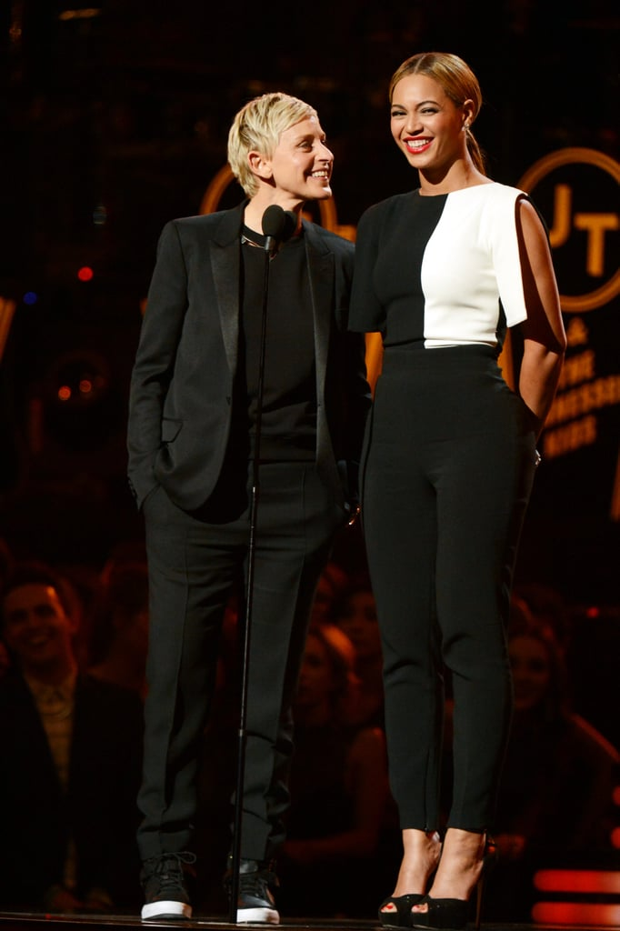 Beyoncé and Ellen DeGeneres presented together, introducing Justin Timberlake's well-anticipated performance.