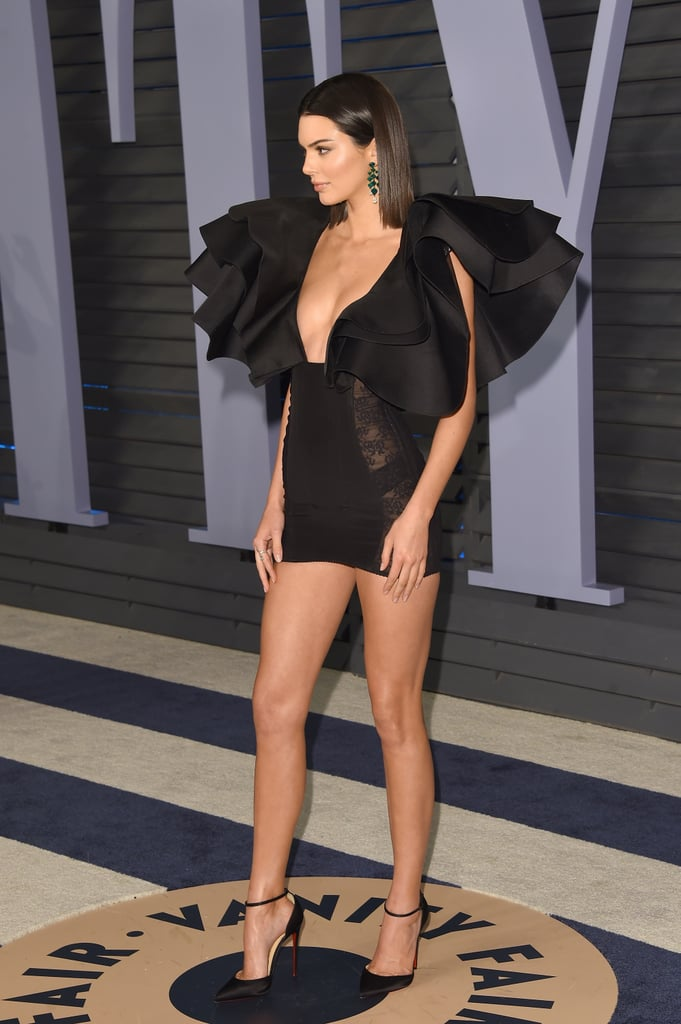 Kendall Jenner Black Dress at Oscars Afterparty 2018
