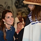 During her tour of Canada, Kate opted for a few jewelry choices with a local flavor. First up were the Large Kite Double Drop Earrings costing $1,105 from Canadian jeweler Pippa Small.