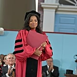 Oprah beamed at the audience after accepting her degree.