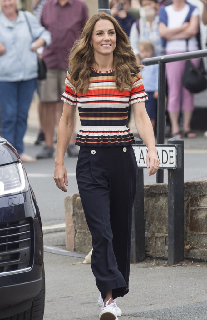 Kate Middleton Striped Peplum Shirt By Sandro 2019