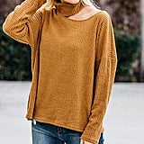 Mustard Ribbed Asymmetric-Cutout Turtleneck