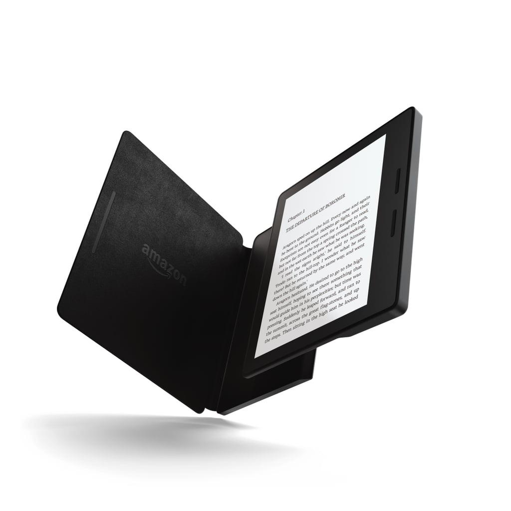 Here Is The Kindle Oasis With The Black Leather Charging