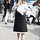 This look is all about the riff on a great men's shirt — and how perfectly it pairs with a ladylike skirt.