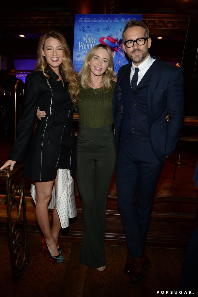 Blake Lively and Ryan Reynolds are sweeter than a spoonful of sugar, so it's only fitting that they would host a screening of Mary Poppins Returns. On Thursday, the couple joined forces for a special screening of the Disney movie at Feinstein's/54 Below in NYC. In addition to mingling with the film's producer John DeLuca and director Rob Marshall during the event, the two were also joined by their close friend and star of the film, Emily Blunt. Blake and Emily shared a cute moment as they hugged for the cameras. Of course, one of the sweetest moments of the night was when Blake reunited with her former Gossip Girl costar Margaret Colin. Blake flashed a huge grin as she posed with the actress, who played Blair's mom on the series. Aww!       Related:                                                                                                           Why Ryan Reynolds and Blake Lively Are the Cutest Couple