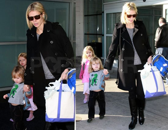 Photos of Gwyneth Paltrow, Apple Martin, Moses Martin Arriving at JFK
