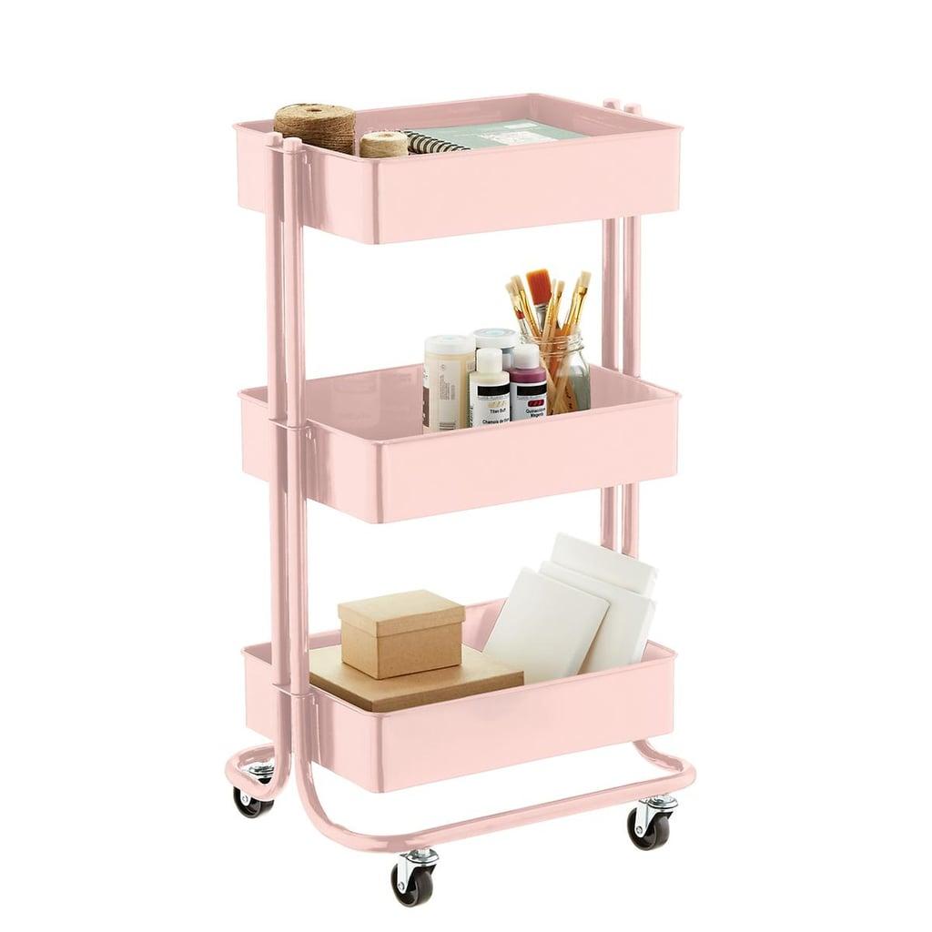 Blush 3-Tier Rolling Cart