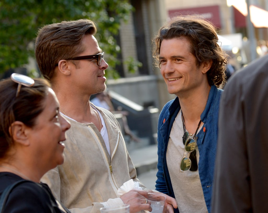 Brad Pitt met up with Orlando Bloom on Thursday at an industry event in LA.