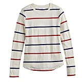Printed Long Sleeve Tee in Pristine Weekender Stripe