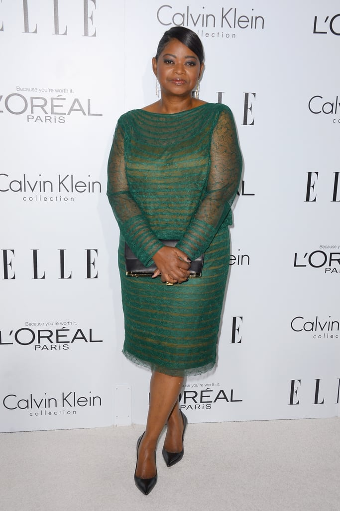 Octavia Spencer got glam in an emerald-hued Tadashi Shoji cocktail dress and pointed-toe heels.
