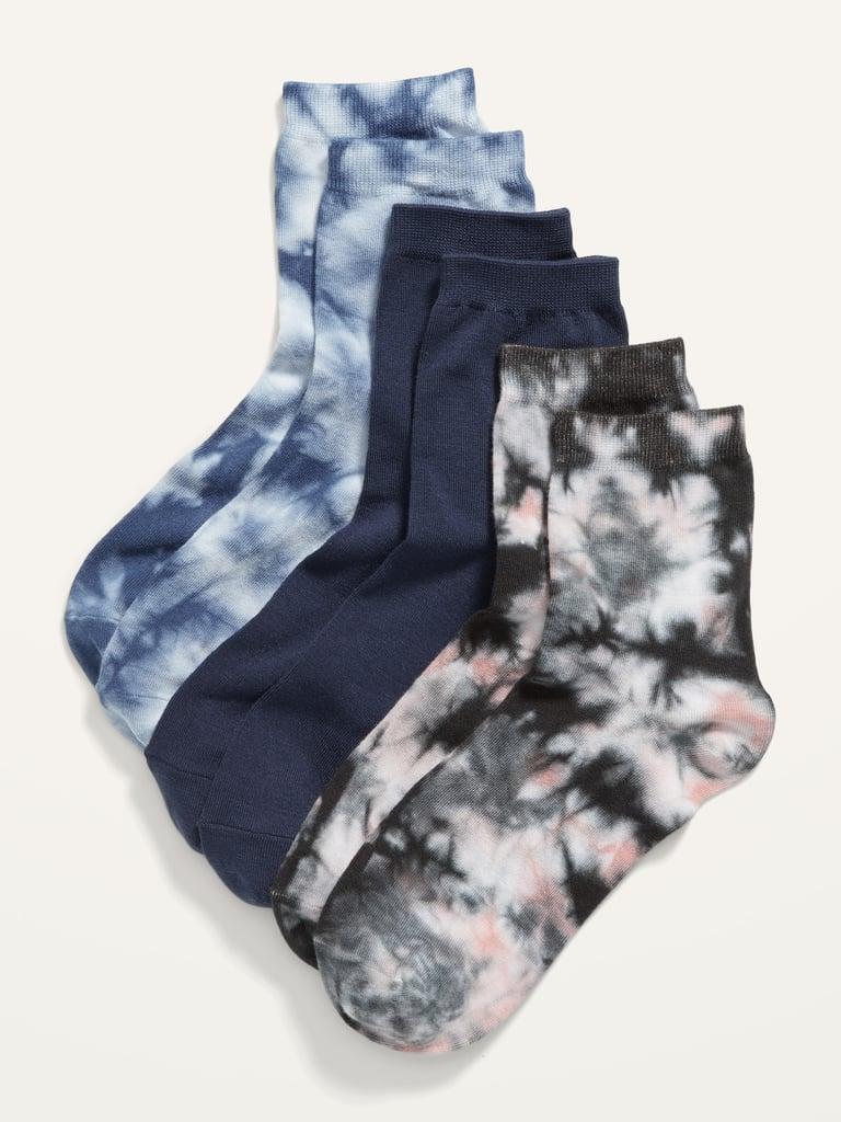 Novelty Quarter Crew Socks 3-Pack