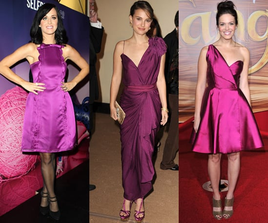 Photos of Katy Perry, Natalie Portman and Mandy Moore in Purple Dresses on the Red Carpet