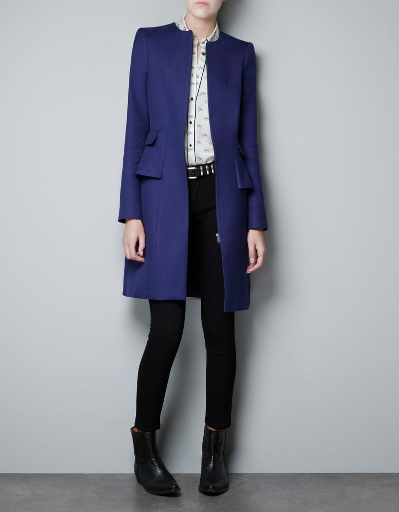 Zara's Structured Frill Coat ($80, originally $129) is perfect for wearing over a cocktail dress.