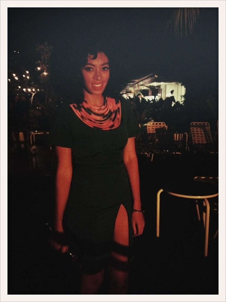 Solange Knowles posed in a sexy high-slit dress. Source: Twitter user solangeknowles