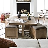 Champagne Cube Coffee Table With 4 Storage Ottomans
