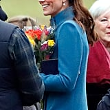 The Duchess of Cambridge in a Teal Jane Taylor Pleated Headband