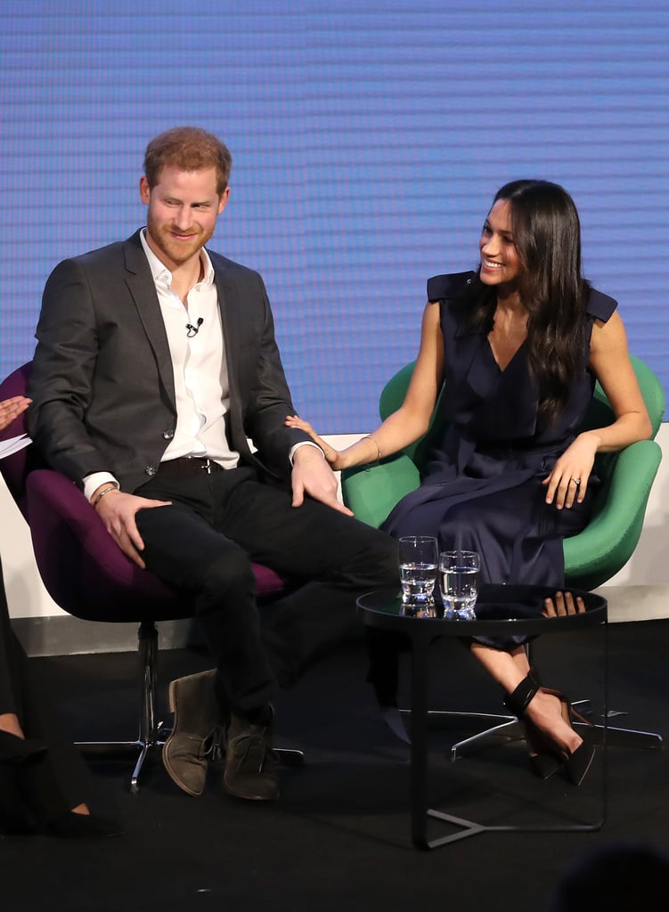 Prince Harry and Meghan Markle have been making us melt with their affectionate appearances ever since they went public with their relationship. Since since their engagement, we've seen the couple make numerous PDA-filled trips around the UK. On Wednesday, they joined forces with Prince William and Kate Middleton for the first Royal Foundation Forum, a chance to discuss the causes and charities they care deeply about.  From the moment Harry and Meghan stepped on stage for the first discussion of the day, we got a glimpse at how loved-up the pair clearly are. Their body language said it all, and even when Harry had to leave Meghan's side to make a solo speech, photographer Chris Jackson captured images of the former Suits actress watching from the audience, rapt with a dreamy smile on her face. Take a look at their cutest moments from the day now, then catch up with everything we know about their upcoming wedding.