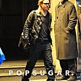 Brad Pitt Wearing a Leather Jacket in NYC