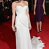 Ashley Greene wore a white Donna Karan gown to the Met Gala.
