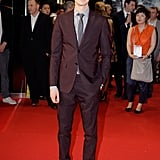 Andrew Garfield wore a dark suit for the Seoul premiere.