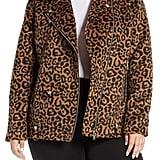 Avec Les Filles Faux Leopard Fur Jacket with Faux Shearling Collar