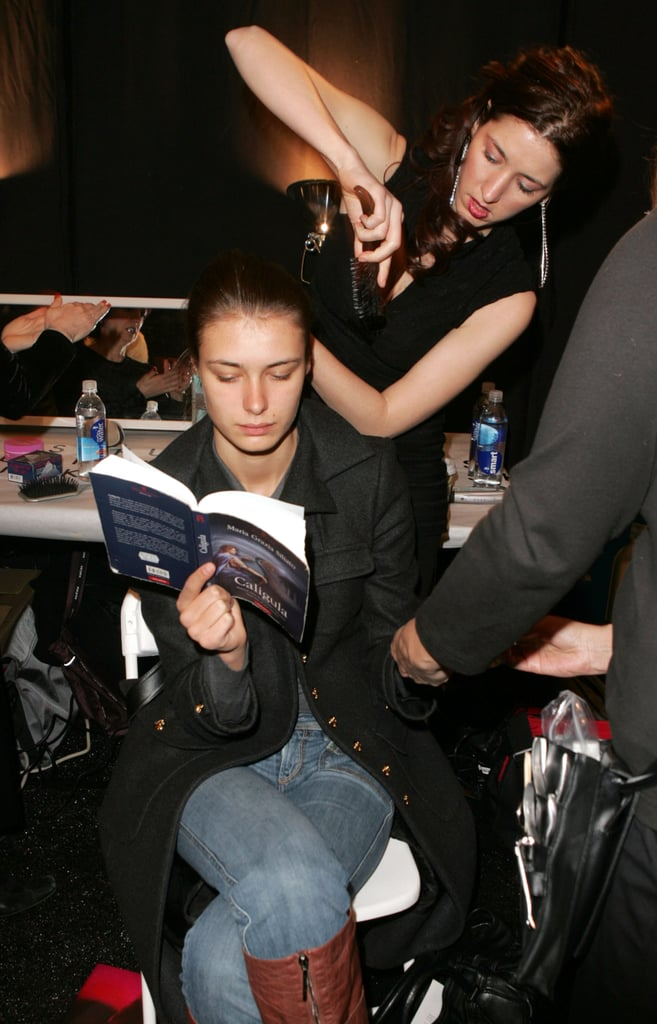 Caligula by Maria Grazia Siliato and Teresa Clavel Lledo was this model's book pick backstage at the Atil Kutoglu Fall 2007 fashion show during Mercedes-Benz Fashion Week.