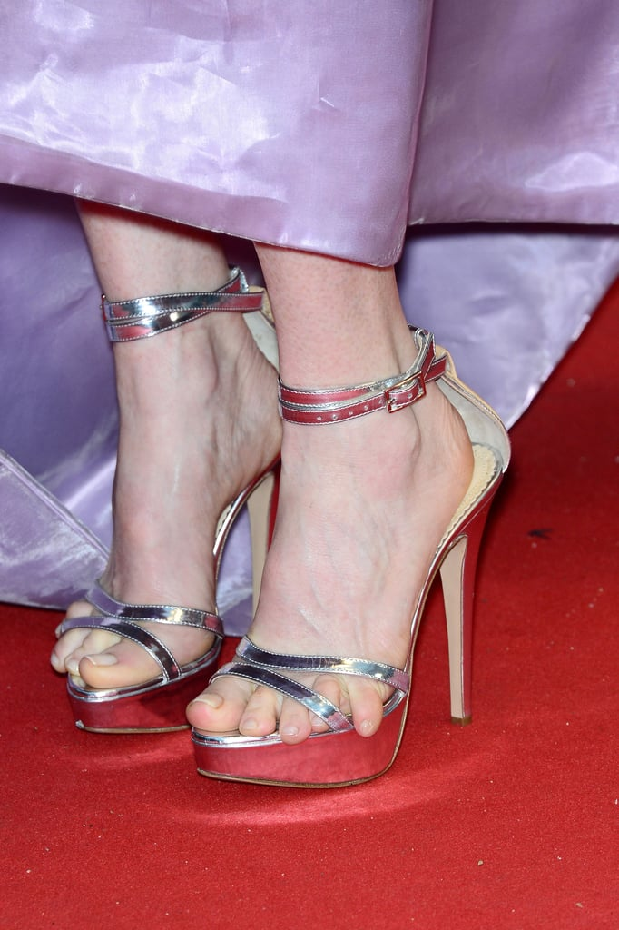 Julianne Moore wore silver platform sandals to complement an iridescent lavender gown.