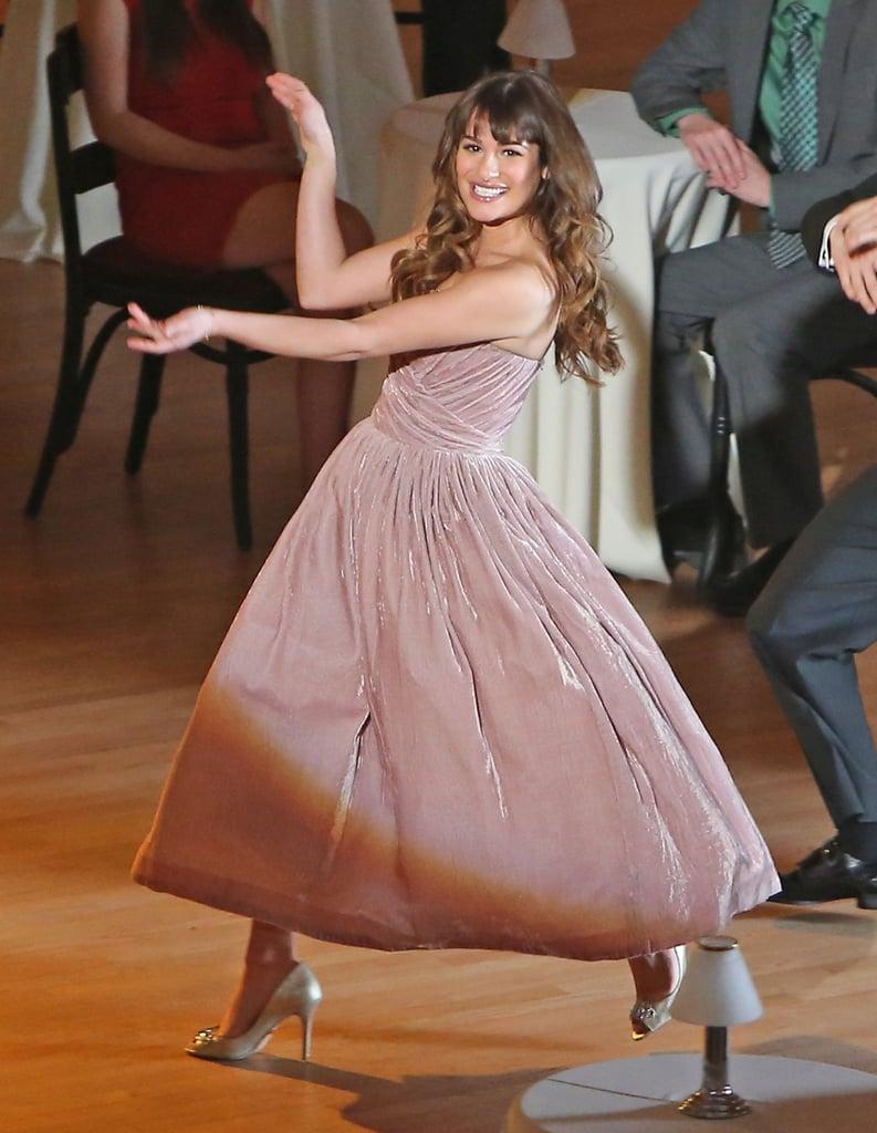 Lea Michele filmed a scene for Glee at the Walt Disney Concert Hall in LA on Thursday.