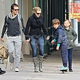 Kate Winslet and Ned Rocknroll had a public outing with her children, Mia Threapleton and Joe Mendes.