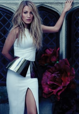Blake Lively looked sexy in a white dress with a high slit for Bullet magazine.