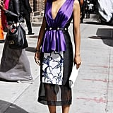 Kerry Washington visited David Letterman's NYC studios wearing a Prabal Gurung dress with no shortage of standout details: floral print, purple satin, peplum, sheer. She then injected a white clutch and white pointy pumps for a fresh finish.