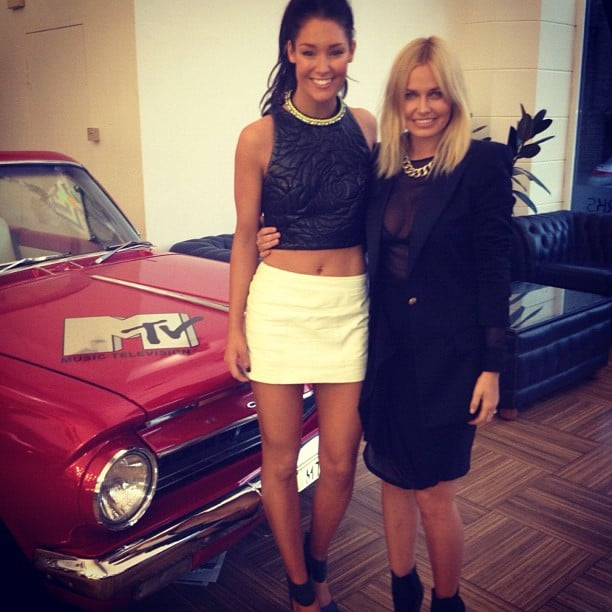 Erin McNaught and Lara Bingle caught up at the MTV offices. Source: Instagram user tailormaidcommunications
