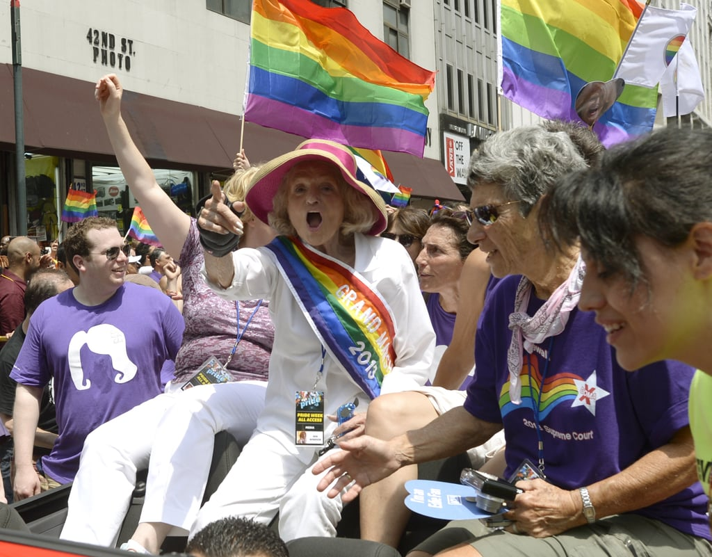 NYC Gay Pride Parade Grad Marshal Edie Windsor waved to the crowd.
