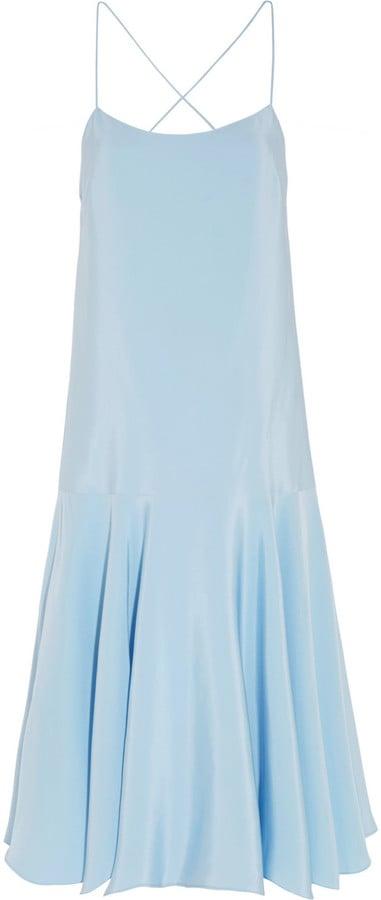 Tibi Asymmetric Silk-Satin Dress ($545)
