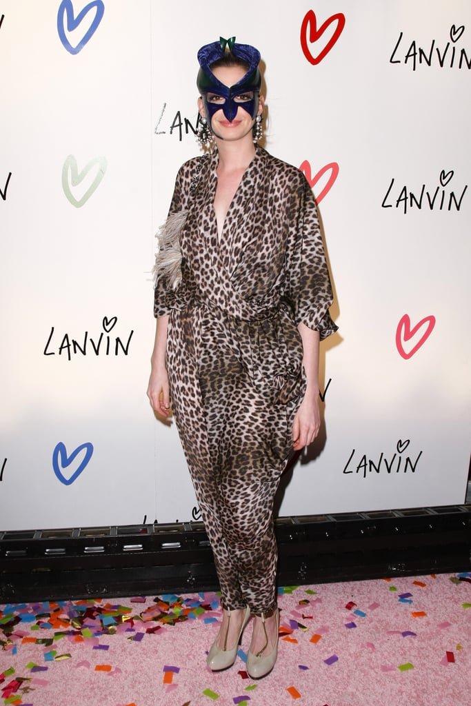 Anne Hathaway sported a masquerade mask at a 2010 Lanvin Halloween party in NYC.