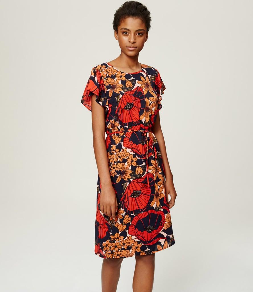 Loft Autumn Blossom Flutter Dress ($90) | Modest Holiday Dresses ...