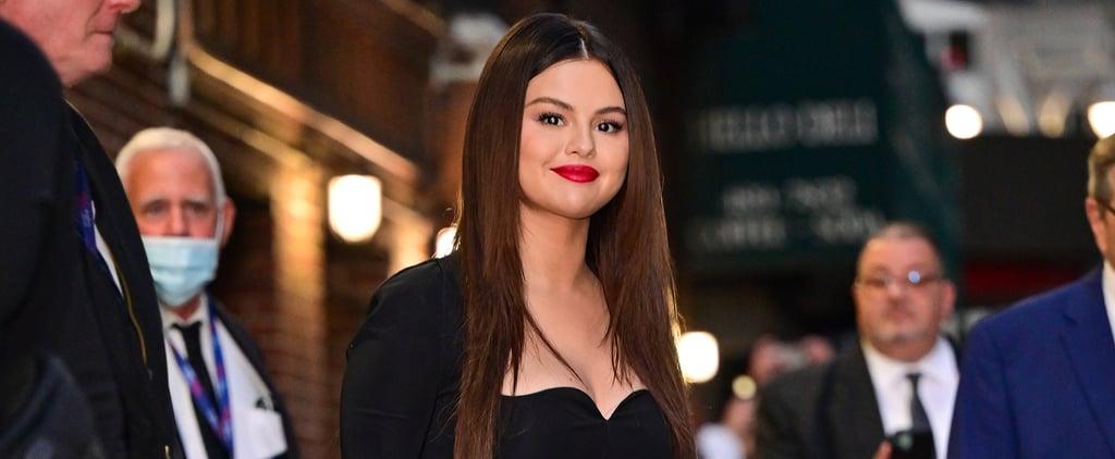Selena Gomez Wearing Black Versace Top and Skirt on Colbert