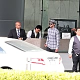 Justin Timberlake waited for his car.