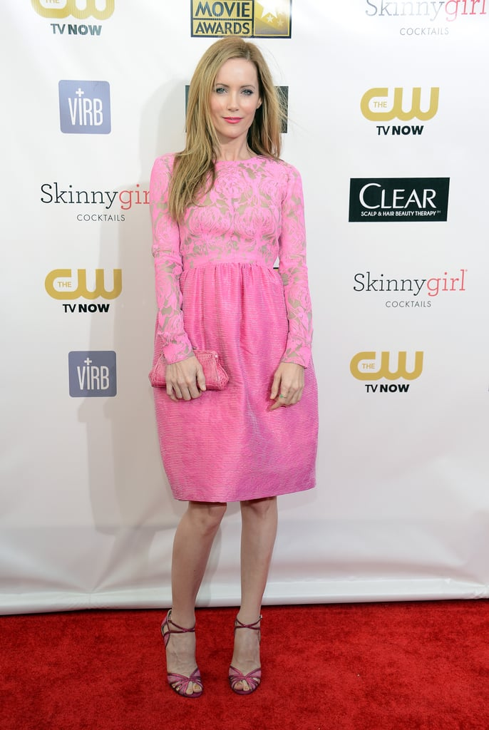 Leslie Mann looked insanely sweet in a pink lace dress and matching sandals and bag at the 2013 Critics' Choice Awards. Dare to go head-to-toe pink this year, even if it's a less dressy version.